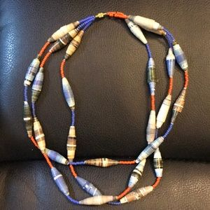 Paper and Bead Necklace - Handmade